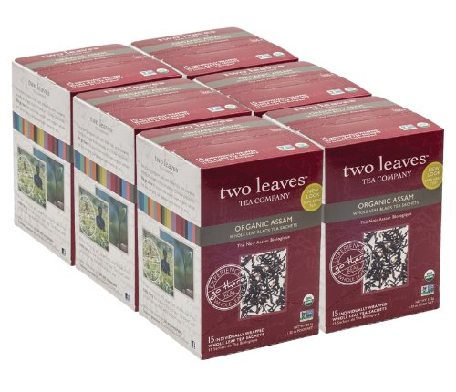 Two Leaves Tea Company Organic Assam Black Tea,15-Count Boxes (Pack Of 6)