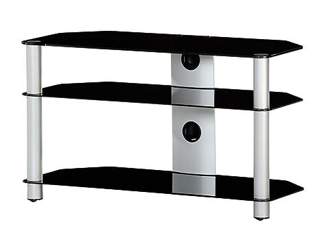 NEO 390-NG - Mueble de TV con 3 estantes y 90 cms de ancho. Vidrio Negro / Chasis gris.