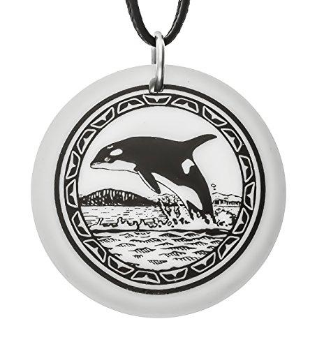 fait-a-la-main-orque-totem-rond-porcelaine-pendentif-sur-cordon-noir