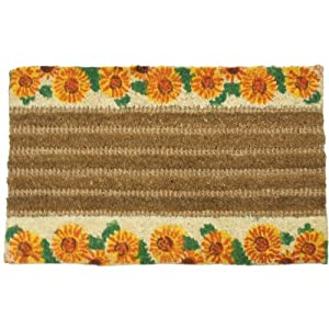 """Sunflower"" Decorative Coco Coir Doormat - 18"" x 30"" Outdoor Door Mat"