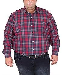 Xmex Men's Cotton Shirt (KR-703MAROON, Maroon, XXXXX-Large)