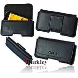 Burkley PIANO-BLACK-XL Slim Line Leder Gürteltasche für Samsung Galaxy S IV i9500 mit Gürtel Schlaufe in schwarz