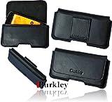 Burkley PIANO-BLACK-XL Slim Line Leder G�rteltasche f�r Samsung Galaxy S IV i9500 mit G�rtel Schlaufe in schwarz