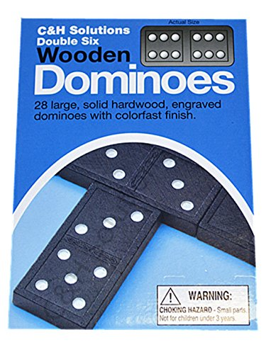 Double 6 Dominoes Black With White Dots Wooden Dominoes 28 PCS By C&H