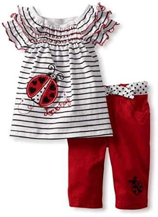 Young Hearts Little Girls' 2 Piece Lovebug Twill Capri Set, White, 2T