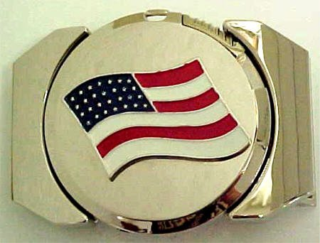 Buy Polished Chrome American Flag Lighter Belt Buckle U.S.A