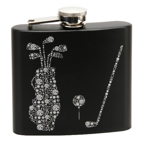 Golf Design Black & Silver Hip Flask 5oz Razzle Dazzle - TP128