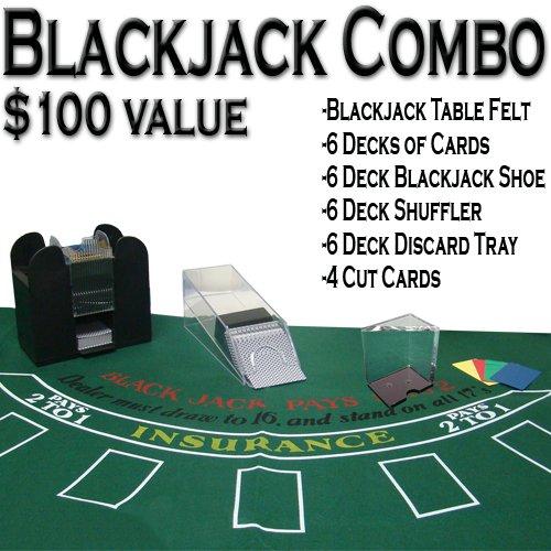 Big Save! Professional Casino Style Deluxe 6-Deck Blackjack Set - Includes Bonus 100 Poker Chips!