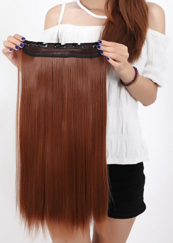 [Charming Women Clip in Hair Extension 23 inch Long Light Auburn Straight Hairpiece One Piece Hair Wig 3/4 Half Full Head] (Sexy Glamour Wig In Auburn)