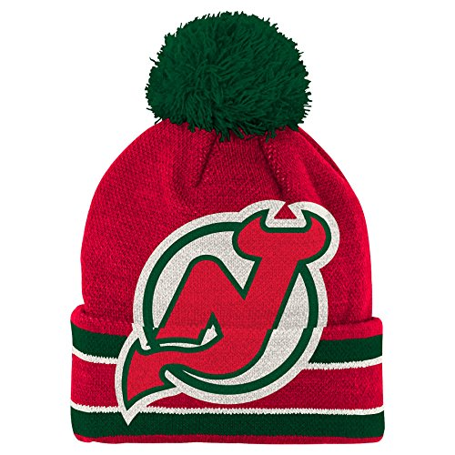 NHL New Jersey Devils Youth 8-20 Cuffed Knit Hat, One Size, Black (New Jersey Devils Youth Hat compare prices)