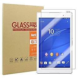 Sony Xperia Z3 Tablet Compact Tempered Glass Screen Protector by Rerii, Premium Shatter Proof Crystalline Tempered Glass Screen Protection for Sony Xperia Z3 Tablet Compact, 9 H Hardness, 0.3mm Thickness,Made From Real Glass,
