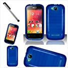 BLU Dash JR 4.0 D142 Blue Crystal soft TPU Skin Case Included Cover U (TM) Stylus Touch Screen Pen