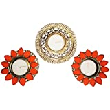 Saisang Creations Orange Floral & Pearl Tea Light Candle Holder, Set Of 3