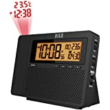 HITO Atomic AM/FM Projection Clock Radio w/ Date, Week and Temperature- Battery operated/Adapter (Projection+AM/FM Radio-black)