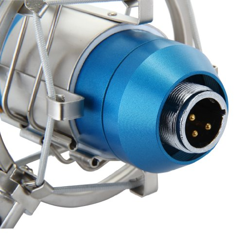 Floureon BM-800 Condenser Sound Studio Recording Broadcasting Microphone + Shock Mount Holder Blue - 7