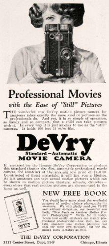 1926-ad-antique-devry-automatic-movie-camera-camcorder-center-street-chicago-original-print-ad