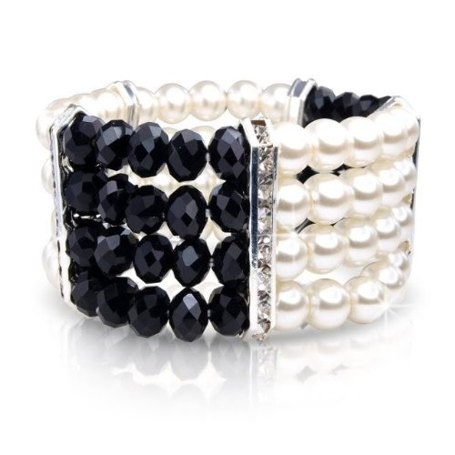 Christmas Gift Present - Party Wear - White Ivory Pearl Bracelet Bangle With White Crystal And Black Glass Beads Gift Present UK