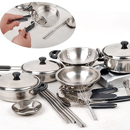 Little Chef Stainless Cookware Set Children Toy Pots and Pans With Cooking Utensils Kitchen Playsets 18 Pieces For Child Chichren Toddlers Baby (Children Pot And Pans compare prices)