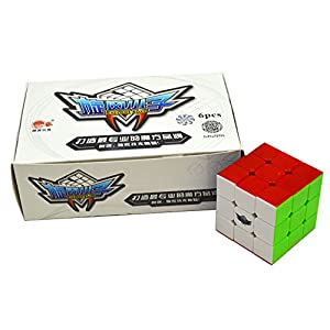 Qm-h Set of 6-pack 3x3x3 Classical Speed Puzzle Magic Cubes Stickerless True Color