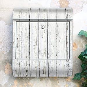 Design Briefkasten 38x42x11 von banjado mit Motiv Weißer Bretterzaun