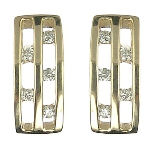 Ladies' Diamond Rectangular Stud Earrings, 9ct Yellow Gold, Channel Set, I2 Diamond Clarity, 0.1 Carat Diamond Weight, Model 9-ER980DI