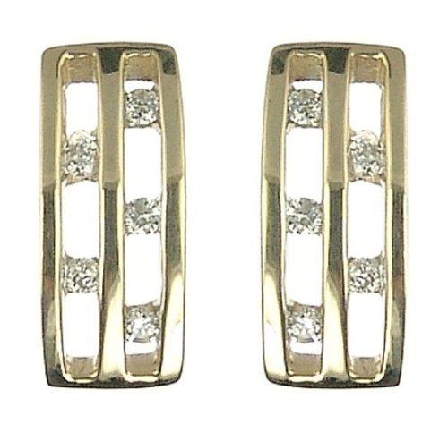 Ladies' Diamond Rectangular Stud Earrings, 9ct Yellow Gold, Channel Set, I2 Diamond Clarity, 0.1 Carat Diamond Weight, Model 9-ER980DI