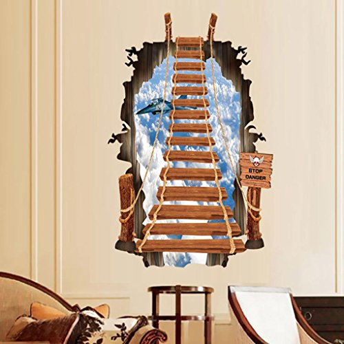 Ussore 3D Stair Fashion Creative Personality Wall Stickers Ladder Decoration For Kitchen Home Bedroom bathroom Decor (A)