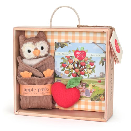 Apple Park Blankie Book And Rattle Gift Crate, Owl front-806406