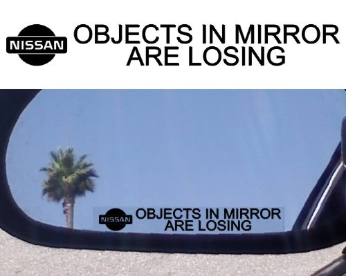 (2) MIRROR DECALS with logos for NISSAN 200 240 280 SX VERSA ARMADA MURANO ALTIMA 300ZX TURBO SENTRA SE-R 240 SX 350Z 240sz GT-R 350Z 370Z NISMO MAXIMA Pathfinder Titan Frontier Xterra (240 Sx Stickers compare prices)