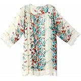 Sunward Flower Chiffon Shawl Kimono Cardigan Coats Jackets Cover up Blouse Tops