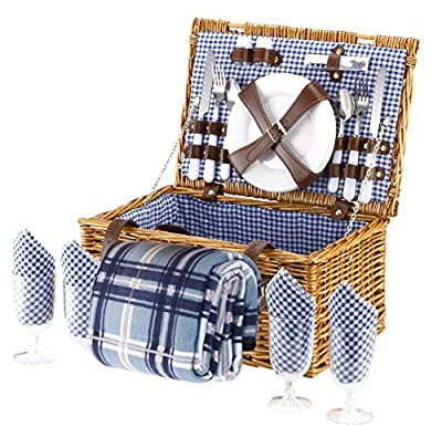 VonShef 4 Person Wicker Picnic Basket Hamper Set with Flatware, Plates and Wine Glasses Includes Blue Checked Pattern Lining and FREE Picnic Blanket