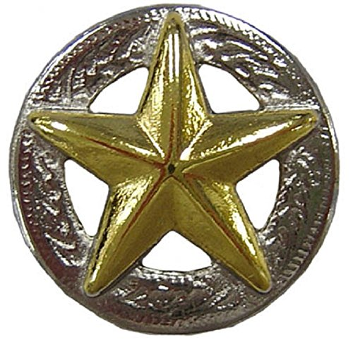 """Gold Star Silver Conchos with Screw - 1"""" Lot of 6"""