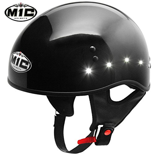 M1C Led Lights Glossy Black Solid Half Face Motorcycle Helmet Dot - Small S