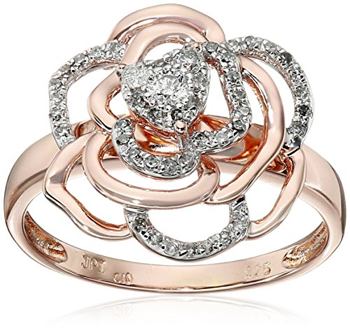 Rose Gold Plated Sterling Silver Rose Diamond Ring (1/4cttw, I-J Color, I2-I3 Clarity), Size 8