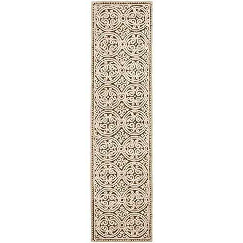 Safavieh Cambridge Collection CAM232A Handmade Tan and Multi Wool Runner, 2 feet 6 inches by 22 feet (2'6