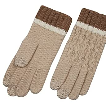 ELMA Men's Wool Gloves Smart Phone Touch Screen Gloves for Snow Winter (One size, Beige)