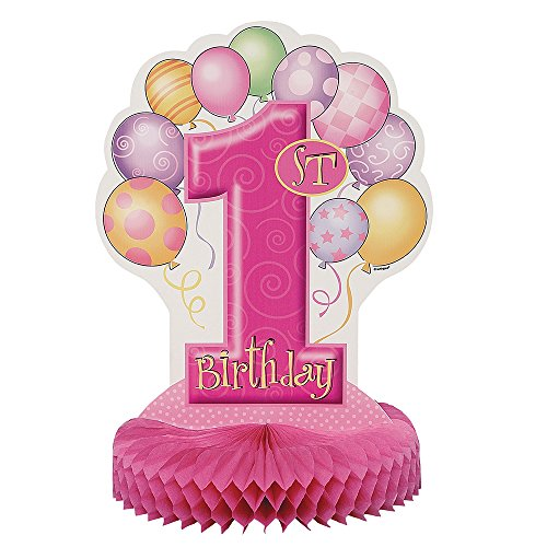 Centre de table anniversaire 1 an fille