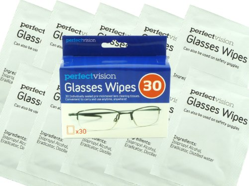 Pack 30 Perfect Vision Optical Lens Glasses Wipes - Spectacle Cleaner Wipes By Value 4 Money