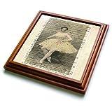 trv_181030_1 Florene - French Vintage - Image of antique photograph of ballerina on french written letter - Trivets - 8x8 Trivet with 6x6 ceramic tile