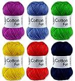 Gründl Cotton Fun Häkelgarn Schulgarn 100% Baumwolle SET 1 Bunt Mix 6 Stück 300 Gramm