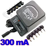 AMOS 6-Way 300mA max. AC to DC Universal Universelle Multi Voltage 3V / 4.5V / 6V / 7.5V / 9V / 12V Plug in Mains AC Power Adapter Adaptor Power Supply Replacement (Black)