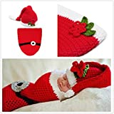 Soft Handmade Crochet Knit Baby Sleeping Bag Baby Photo Props Baby Photograph Props Baby Photograph Infant Newborn Cute Baby Christmas Outfits Newborn Xmas Outfit Christmas Costumes for Baby Santa Claus Costume for Baby 0 9 Months