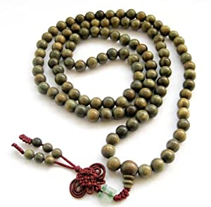 Green Sandalwood Beads Tibetan Buddhist Prayer Meditation Mala Necklace