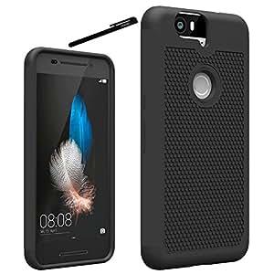 Nexus 6P Case, OEAGO Huawei Google Nexus 6P (2015 Release) Case Cover Accessories - Shock-Absorption Dual Layer Defender Protective Case Cover For Google Nexus 6P (Black)