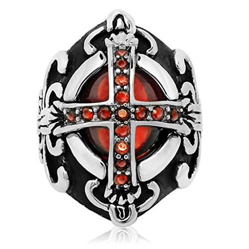 Mens Stainless Steel Finger Rings Retro Vampire Cross Synthetic Ruby Size 10 - Adisaer Jewelry