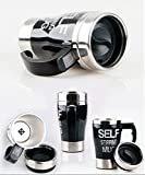 BESTOPE® Automative Electric Self Stirring Coffee Mug Stainless Steel Water Bottle 350ml (A-Black)