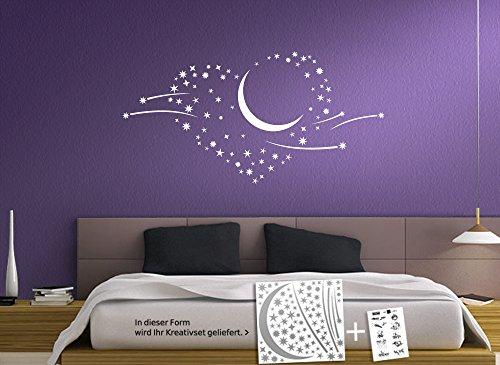grandora w757 wandtattoo sternenhimmel mit mond und schweif haselnussbraun. Black Bedroom Furniture Sets. Home Design Ideas