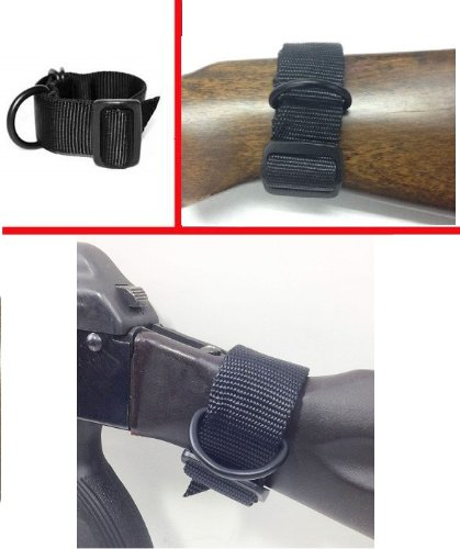 Ultimate Arms Gear Ambidextrous Slip On Buttstock Black Sling Mount Strap Loop Adapter Rifle Shotgun Attachment Nylon Webbing With D-Ring Fits On Wooden Polmer Fixed Sporter Stocks front-9337