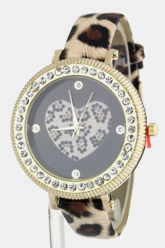 Trendy Fashion Jewelry Crystal Case Leopard Heart Watch By Fashion Destination | (Leopard)