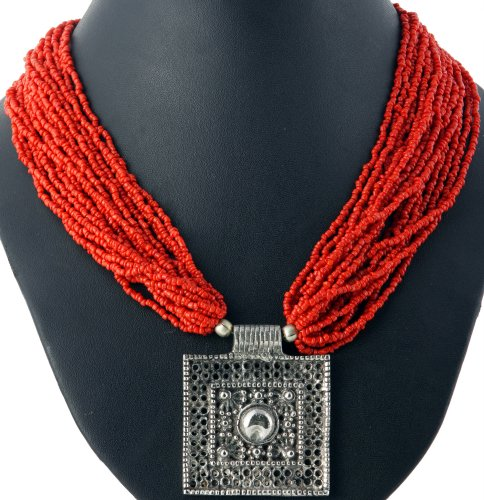 Coral-color Beaded Bunch Necklace with Metallic Pendant - Beaded Jewelry
